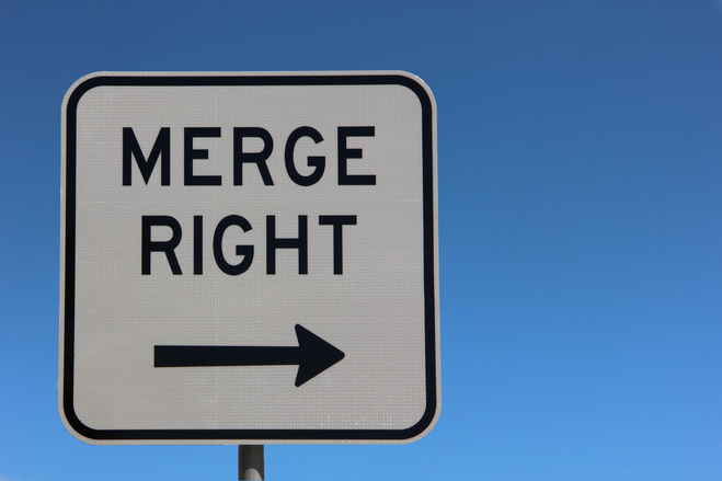 merge right road sign