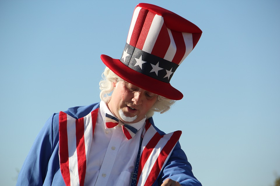 Man dressed up Uncle Sam Promoting The Presidential Election