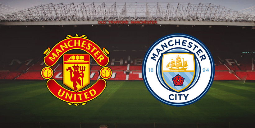 Manchester United & Manchester City badges, with old trafford stadium in the background