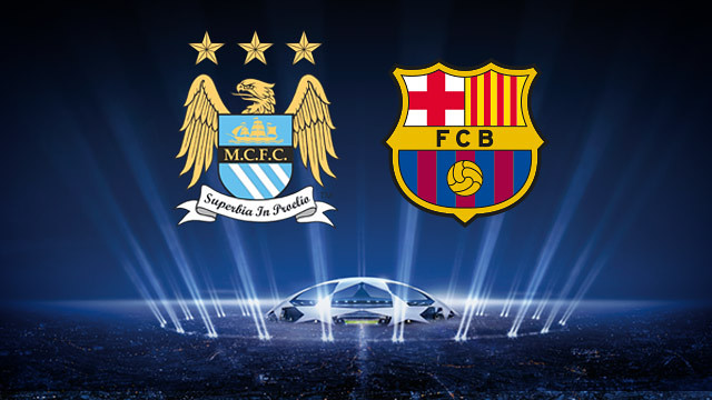 Manchester City and Barcelona badges above UEFA Champions League Stadium Advert Image