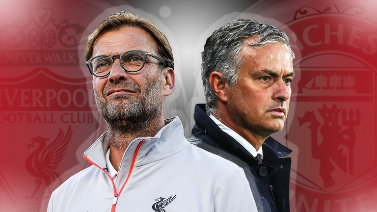 Jurgen Klopp & Jose Mourinho upper body & face image with club logos in the background