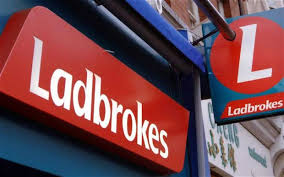 Ladbrokes high street shop logo closeups