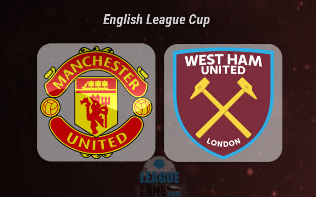 Manchester United and West Ham United Club Badges For English League Cup