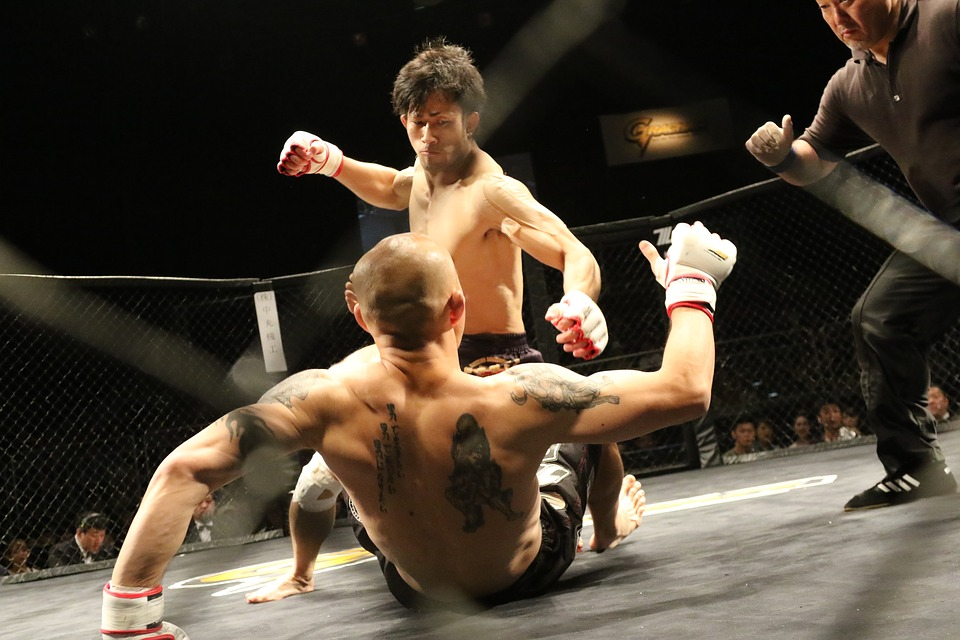 MMA fight one man on ground the other in a punching stance above him, ref in the corner of the image