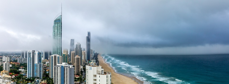 Panoramic Landscape of unnamed city on the beach