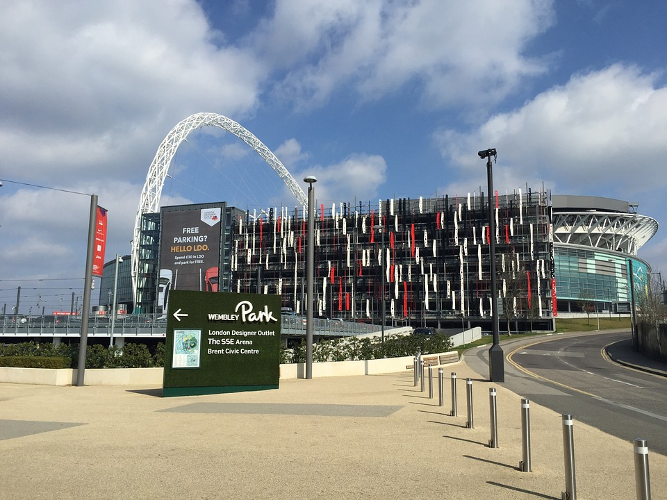 Outside of Wembley Park stadium, view of the stadium & parking lot